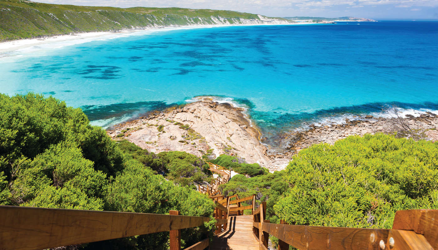 Wooden path at Observatory Point Great Ocean Drive Western Australia